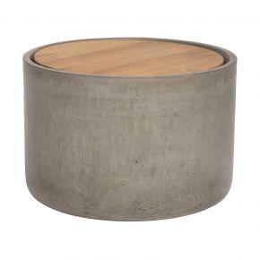 Stern Beistelltisch 60 x 40 cm Beton Zylinder rund mit Teakholzdeckel