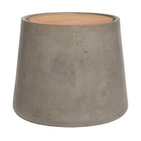 Stern Beistelltisch 60 x 40 cm Beton konisch rund mit Teakholzdeckel