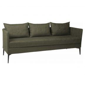 Stern MARTA 3-Sitzer Sofa Alu anthrazit mit Outdoorstoff dunkelgrün/schiefergrau meliert, inkl. Kissen