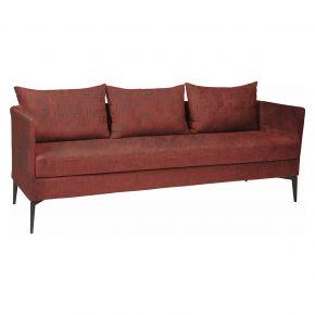 Stern MARTA 3-Sitzer Sofa Alu anthrazit mit Outdoorstoff rot/schiefergrau meliert, inkl. Kissen