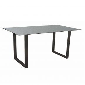 Stern Kufentisch 160x90 cm Aluminium anthrazit mit Tischplatte Silverstar 2.0 Dekor Vintage shell