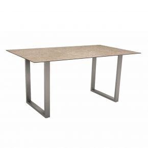 Stern Kufentisch 160x90 cm Edelstahl mit Tischplatte Silverstar 2.0 Dekor Vintage shell