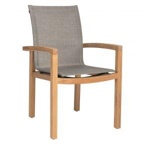 Stern Teak Dining Sessel Leah Bezug Textilen Leinen grau