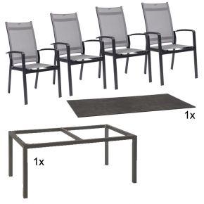 Stern Gartenmöbel Set Olivo 6-teilig Stapelsessel verstellbar aus Aluminium mit HPL Zement Tischplatte