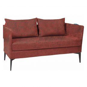 Stern MARTA 2-Sitzer Sofa Alu anthrazit mit Outdoorstoff rot/schiefergrau meliert, inkl. Kissen