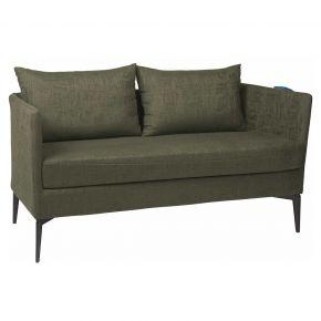 Stern MARTA 2-Sitzer Sofa Alu anthrazit mit Outdoorstoff dunkelgrün/schiefergrau meliert, inkl. Kissen