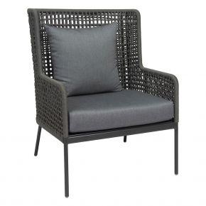 Stern GRETA Lounge-Sessel alu anthrazit mit Synthetikfaser platin inkl. Sitz- und Rückenkissen seidengrau, 100% Polyacryl mit Reißverschluss