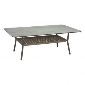 Stern GRETA Lounge Tisch champagner mit Tischplatte Silverstar 2.0 Zement hell und Ablagefach aus Kordel