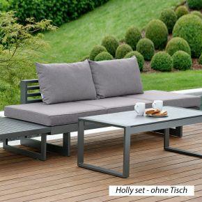 STERN Komplettset 2x HOLLY Bank/Liege Aluminium anthrazit mit Auflage seidengrau und 4x HOLLY Rückenkissen seidengrau