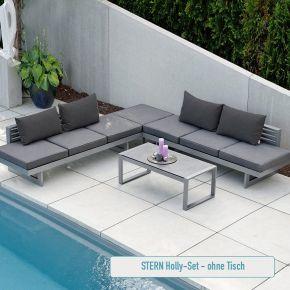 STERN Komplettset 2x HOLLY Bank/Liege Aluminium graphit mit Auflage schiefergrau und 4x HOLLY Rückenkissen schiefergrau
