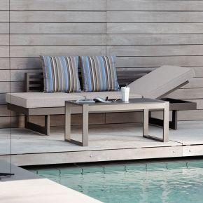STERN Komplettset 2x HOLLY Bank/Liege Aluminium taupe, 1x Beistelltisch ALLROUND und 4x HOLLY Rückenkissen graubraun