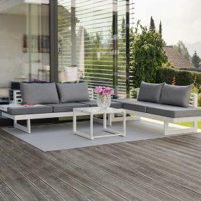 STERN Komplettset 2x HOLLY Bank/Liege Aluminium weiß mit Auflage seidengrau und 4x HOLLY Rückenkissen seidengrau