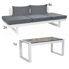 STERN Komplettset 2x HOLLY Bank/Liege Aluminium weiß, 1x Beistelltisch ALLROUND und 4x HOLLY Rückenkissen seidengrau
