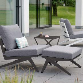 STERN Set JACKIE bestehend aus Sessel, Hocker und Beistelltisch Aluminium anthrazit mit Kissen seidengrau