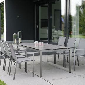 Stern Evoee Aluminium Set 6 Stapelstühle anthrazit mit Silverstar Tischplatte und Tisch Vierkantrohr 200x100cm Dekor Smoky