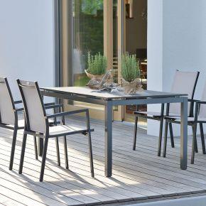 Stern New Levanto Aluminium Set 4 Stapelstühle anthrazit mit Vierkantrohr Tischgestell und Tischplatte 160x90cm Granit einsengrau