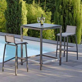 Stern Allround Set Stehtisch mit 2 Barstühlen Aluminium Anthrazit Dekor Nitro