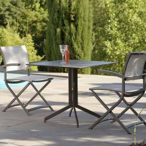 Stern Camillo Set Tischgestell mit Tischplatte 80x80 mit 2 Balkonklappsessel Aluminium Anthrazit Dekor Zement