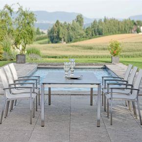Stern Evoee Edelstahl Set 6 Stapelstühle mit Tisch Quadratrohr und Tischplatte Silverstar 200x100cm Dekor Nitro