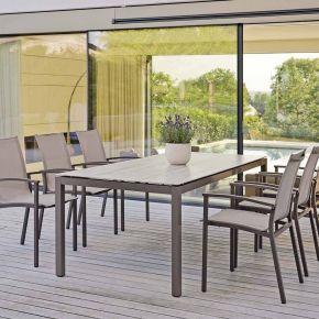 Stern Evoee Aluminium Set 6 Stapelstühle taupe mit Porzellankeramit Tischplatte und Tisch Quadratrohr 200x100cm Trento hellbraun