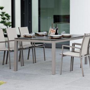 Stern New Levanto Aluminium Set 6 Stapelstühle taupe mit Vierkantrohr Tischgestell und Silverstar Tischplatte 200x100cm Dekor Smoky