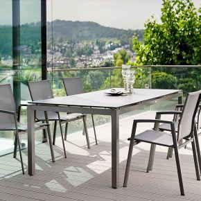Stern New Top Aluminium Set 6 Stapelstühle anthrazit und Vierkantrohr Tischgestell mit Silverstar Tischplatte 200x100 Dekor Zement