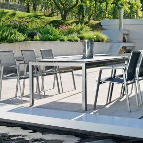 Stern New Top Aluminium Set 6 Stapelstühle graphit und Vierkantrohr Tischgestell mit Silverstar Tischplatte 200x100 Dekor Tundra grau