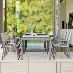 Stern New Top Aluminium Set 6 Stapelstühle taupe und Vierkantrohr Tischgestell mit Silverstar Tischplatte 200x100 Dekor Travertin