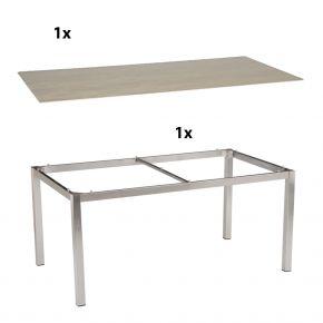 Stern Lavastar Tischplatte mit Edelstahltischgestell Vierkantrohr 160x90
