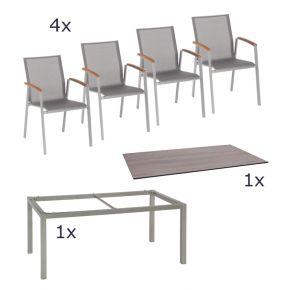 Stern Gartenmöbel Set Top 6-teilig Top Stapelsessel Silverstar 2.0 Tischplatte 160x90 cm, Tundra braun Alu Gestell