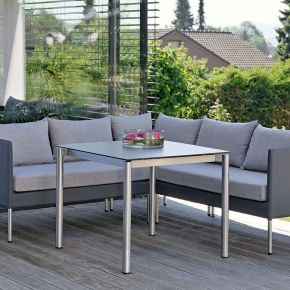 Stern Miguel Dining Komplettset mit dem Tisch Edelstahl  Dekor Zement