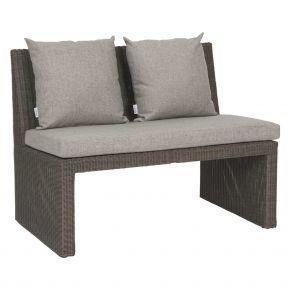 Stern NOEL 2-Sitzer Bank Geflecht basaltgrau inkl. Sitz- und Rückenkissen seidengrau 100% Polyacryl mit Reißverschluss, mit Verbindungselement