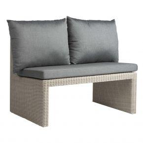 Stern NOEL 2-Sitzer Bank Geflecht Vintage weiß inkl. Sitz- und Rückenkissen seidengrau 100% Polyacryl mit Reißverschluss, mit Verbindungselement
