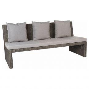 Stern NOEL 3-Sitzer Bank Geflecht basaltgrau inkl. Sitz- und Rückenkissen seidengrau 100% Polyacryl mit Reißverschluss, mit Verbindungselement