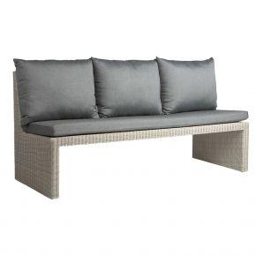 Stern NOEL 3-Sitzer Bank Geflecht Vintage weiß inkl. Sitz- und Rückenkissen seidengrau 100% Polyacryl mit Reißverschluss, mit Verbindungselement