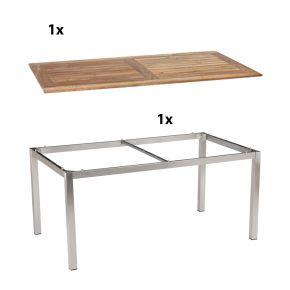 Stern Gartentisch 160x90 cm Edelstahlgestell Vierkantrohr mit Tischplatte aus Old Teak