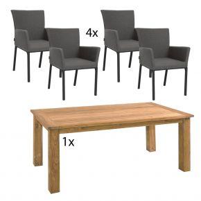 Zebra Komplettset Zebra Tisch OSKAR aus recyceltem Teak und 4x Stern ARTUS Dining-Sessel anthrazit mit Bezug aus Outdoorstoff dunkelgrau
