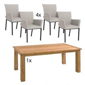 Komplettset Zebra Tisch OSKAR aus recyceltem Teak und 4x Stern ARTUS Dining-Sessel anthrazit mit Bezug aus Outdoorstoff grau