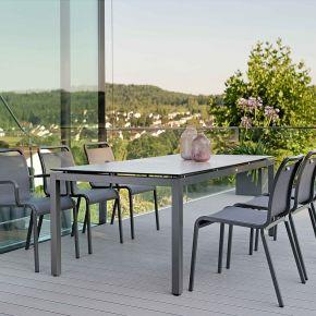Stern Oskar Komplettset anthrazit textil carbon mit der Tischplatte Dekor Zement hell