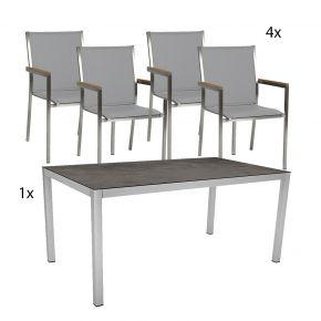 4x Stern Stapelsessel Polaris kaschmir/Teakarmlehnen set mit Edelstahl Tisch 160x90 Tischplatte Dekor Beton dunkel