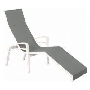 Stern Relaxliege Balance, Aluminium weiß mit Textilenbezug silber und Aluminiumarmlehnen weiß, kippbar