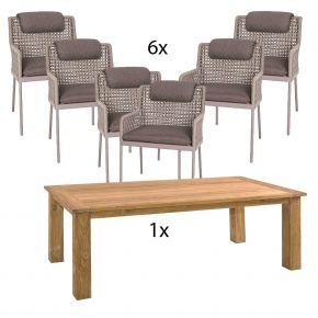 Komplettset Zebra Tisch OSKAR aus recyceltem Teak und 6x Stern Diningsessel GRETA Aluminium champagner mit Synthetikfaser ecru inkl. Sitz- und Rückenkissen rehbraun