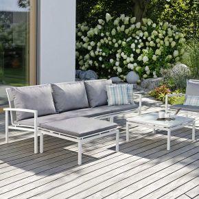 Stern Komplettset SKELBY bestehend aus 2x Seiten- und 1x Mittelelement, Hocker, Beistelltisch Aluminium weiß und dazugehörigen Sitz- und Rückenkissen
