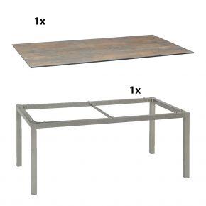 Stern Gartentisch 160x90 cm Aluminiumgestell in Graphit mit Silverstar 2.0-Tischplatte, Ferro