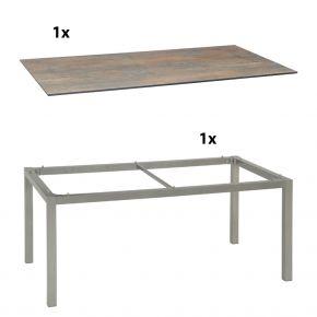 Stern Gartentisch 200x100 cm Aluminiumgestell in Graphit mit Silverstar 2.0-Tischplatte, Ferro