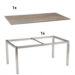 Stern Gartentisch 160x90 cm Edelstahlgestell Vierkantrohr mit Silverstar 2.0-Tischplatte, Ferro