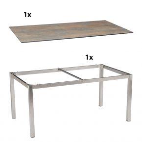 Stern Gartentisch 200x100 cm Edelstahlgestell Vierkantrohr mit Silverstar 2.0-Tischplatte, Ferro