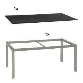 Stern Gartentisch 160x90 cm Aluminiumgestell in Graphit mit Silverstar 2.0-Tischplatte, Nitro