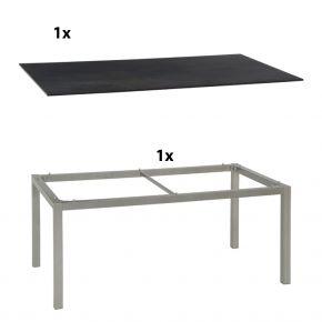 Stern Gartentisch 200x100 cm Aluminiumgestell in Graphit mit Silverstar 2.0-Tischplatte, Nitro