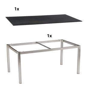 Stern Gartentisch 160x90 cm Edelstahlgestell Vierkantrohr mit Silverstar 2.0-Tischplatte, Nitro